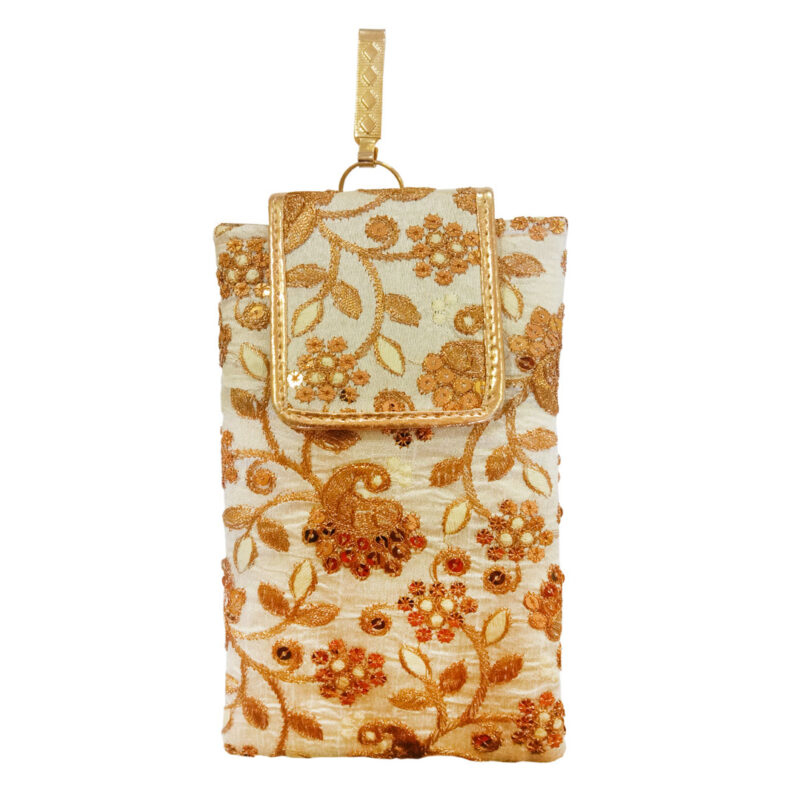 mobile saree pouch golden image view 7