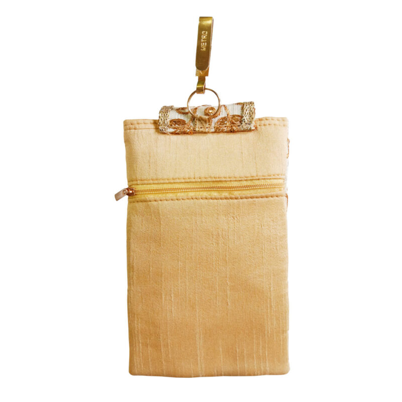 mobile saree pouch golden image view 6