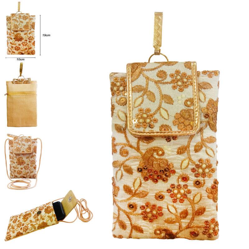 mobile saree pouch golden