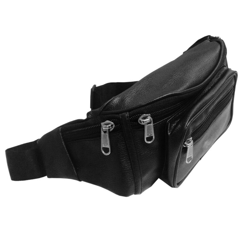 leather waist black pouch image view 7