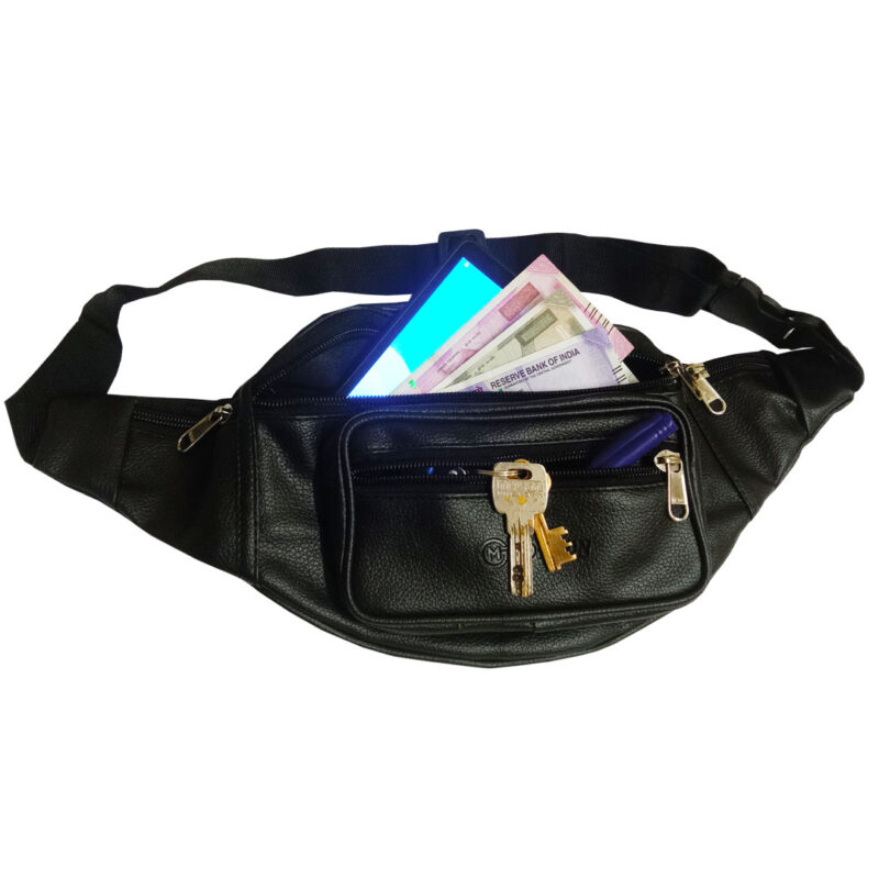 leather waist black pouch image view 4