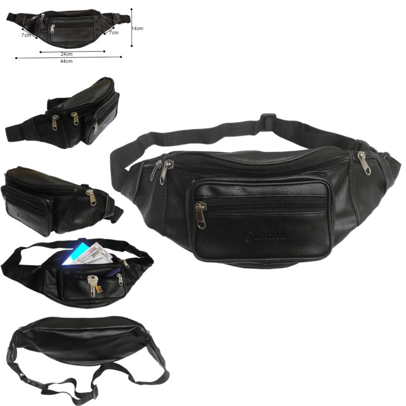 leather waist black pouch image view 2
