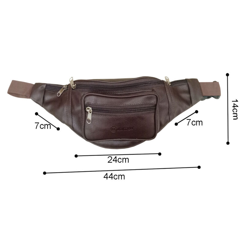 leather waist brown pouch image view 3