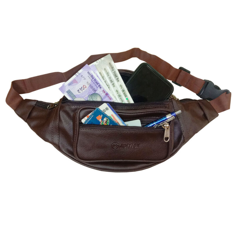 leather waist brown pouch image view 2