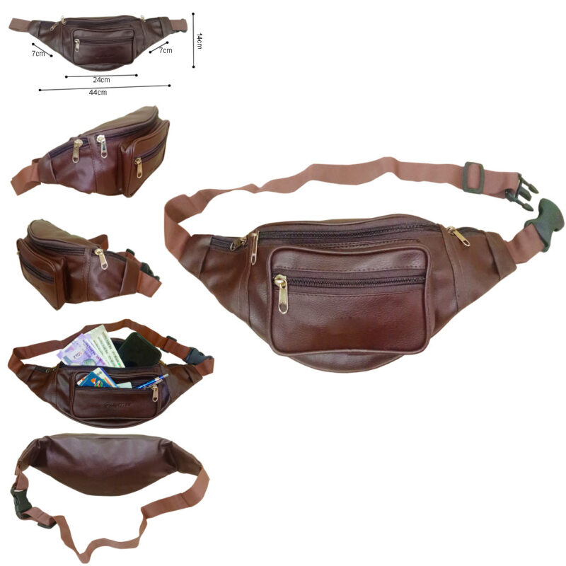 Stylish Leather Travel Waist Pouch -image view 1