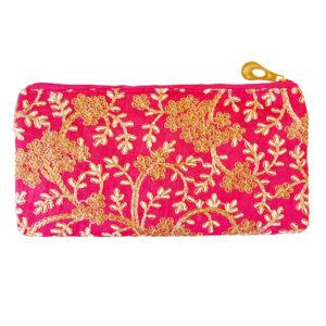 zardosi pink hand purse image view 6