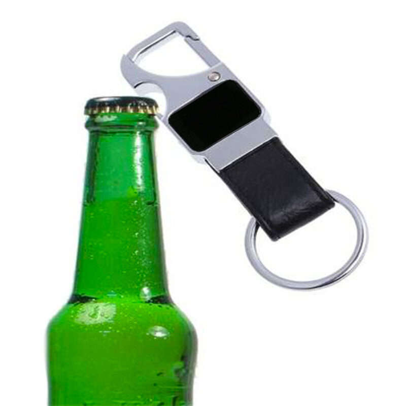 Black Leather Bottle Opener Keychain - Image View 5