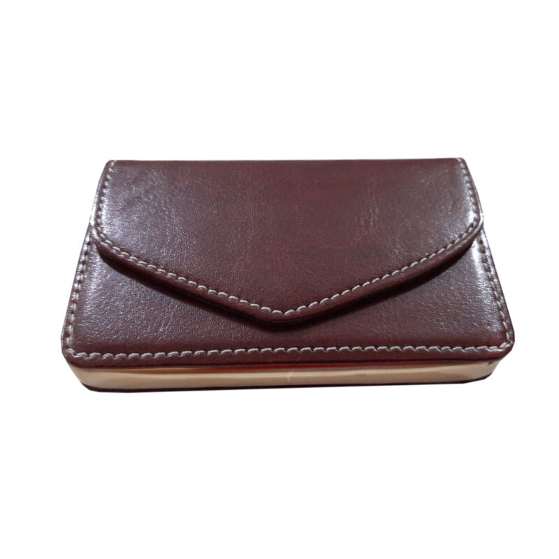 brown leather card holder image view 6