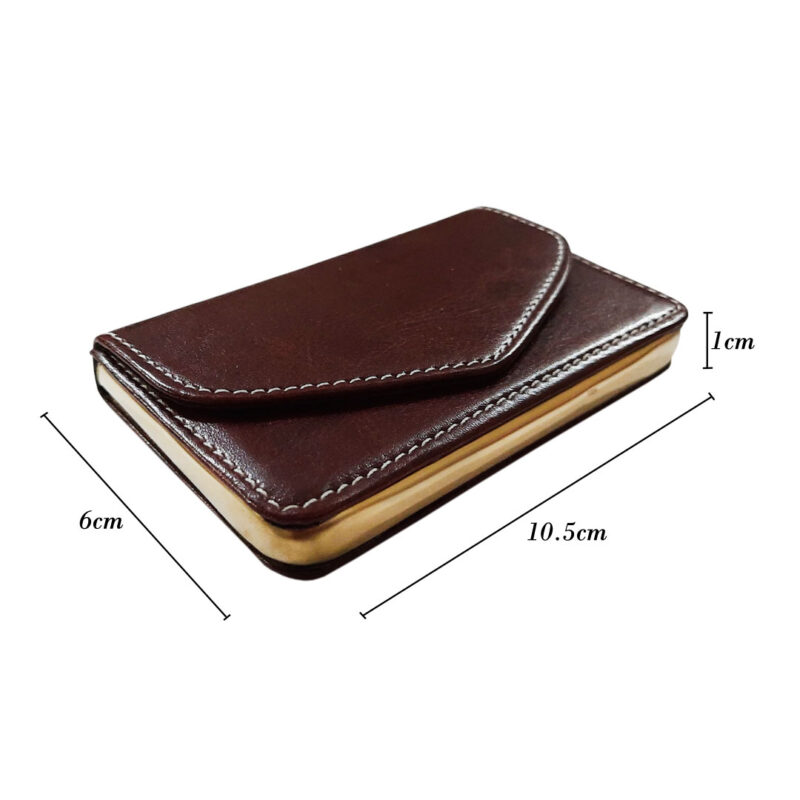brown leather card holder image view 2