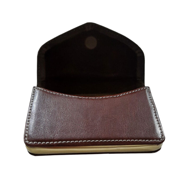 brown leather card holder image view 1