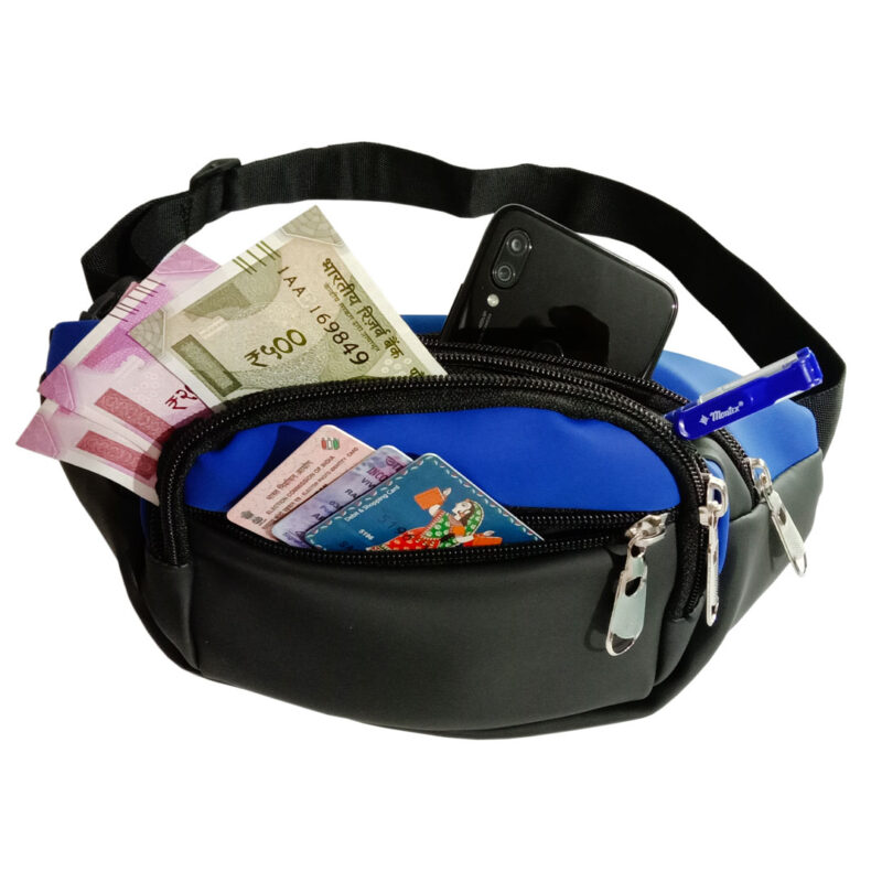 Black and Blue Waist Pouch - Image View 3