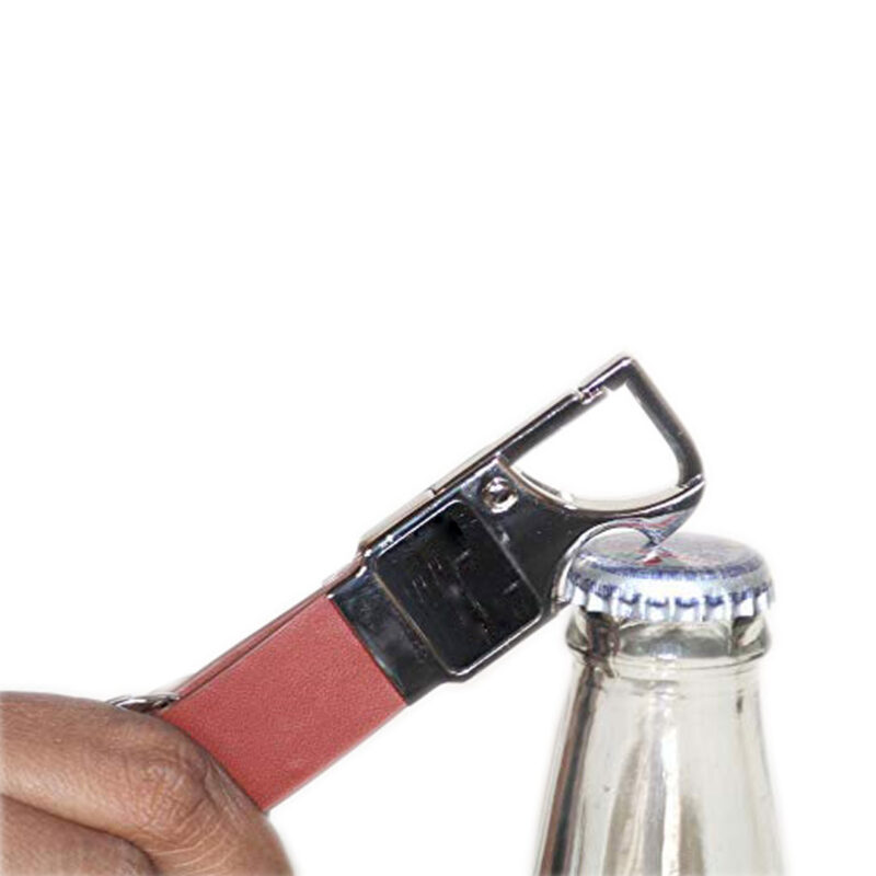 Brown Leather Bottle Opener Keychain - Image View 3