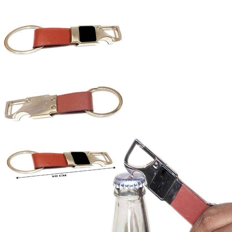 Brown Leather Bottle Opener Keychain - Image View 4