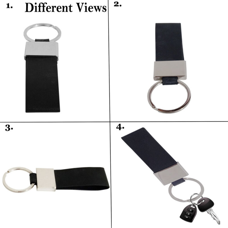 Leather Keychain-Black- Image View 5
