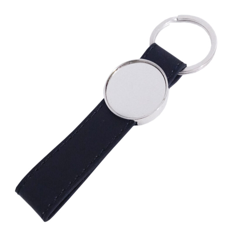 Black Leather Round Keychain - Image View 6