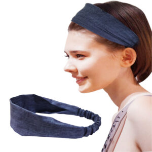 Stylish Blue Denim Headband Image View 7