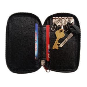 Black Genuine Leather Pocket Key Case- Image view 2