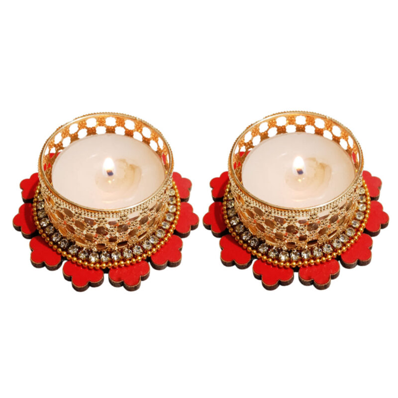 CANDLE TEALIGHT DSTAND FLOWER 2PC 1 - SMILE BAZAR