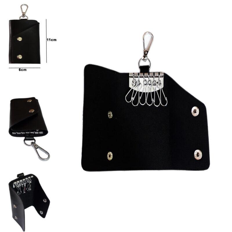 Black Leather Pocket Key Holder - Image View 6