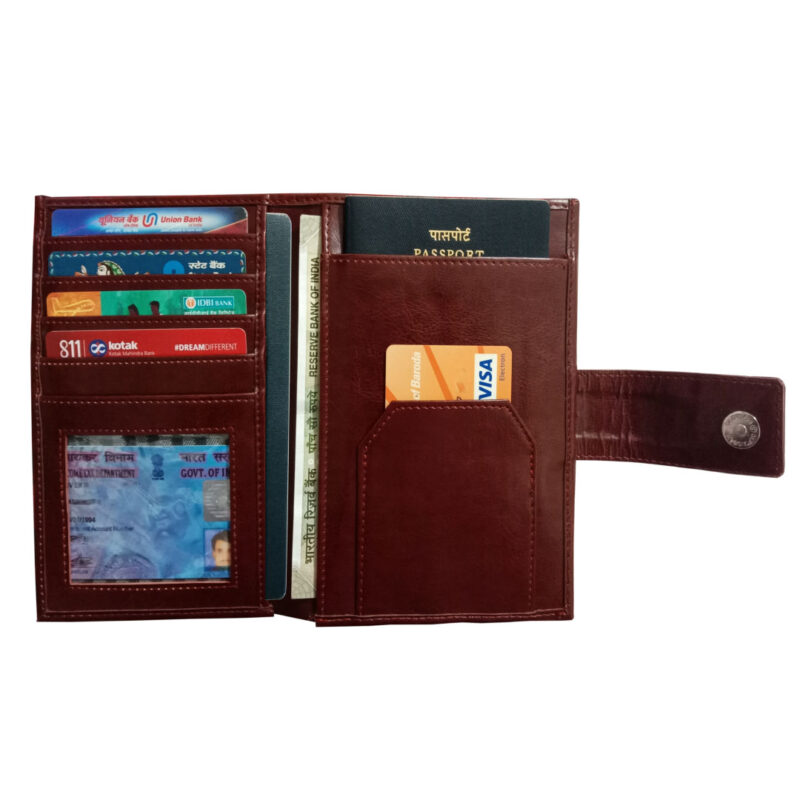Brown Genuine Leather Passport Cover-Image View 1