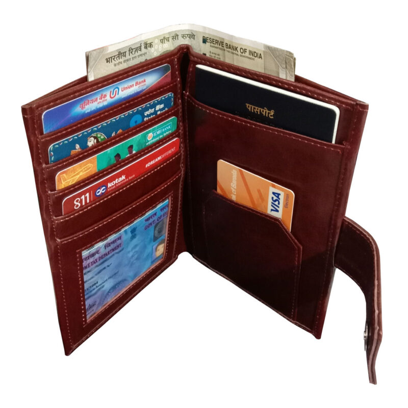 Brown Genuine Leather Passport Cover-Image View 2