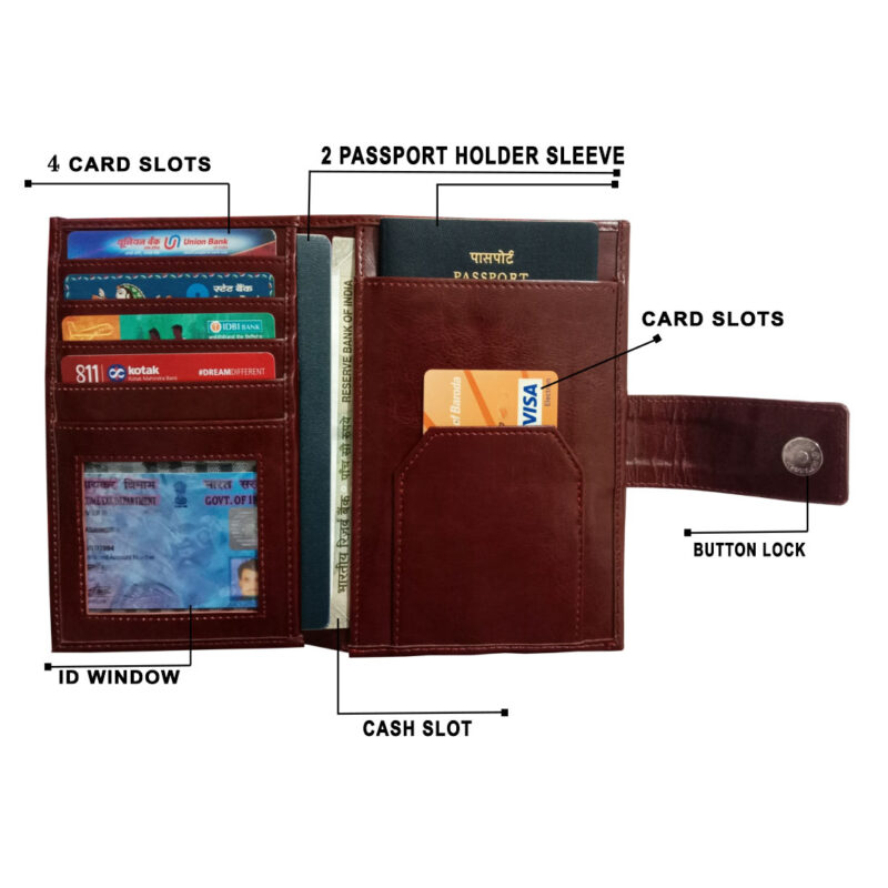 Brown Genuine Leather Passport Cover-Image View 5