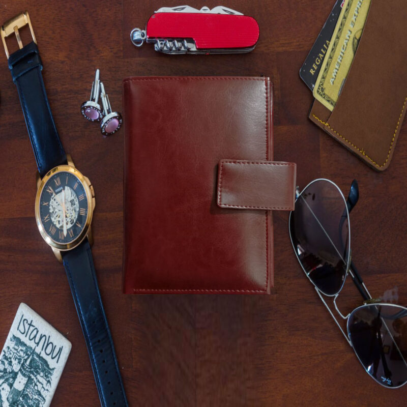 Brown Genuine Leather Passport Cover-Image View 7