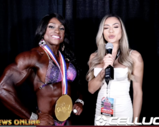 2020 Olympia: Ms.Physique Olympia Winner Andrea Shaw interviewed by Raphaela Milagres