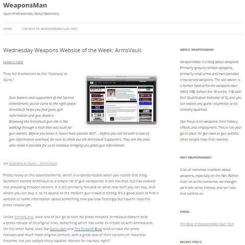 WeaponsMan Names ArmsVault Weapons Website of the Week
