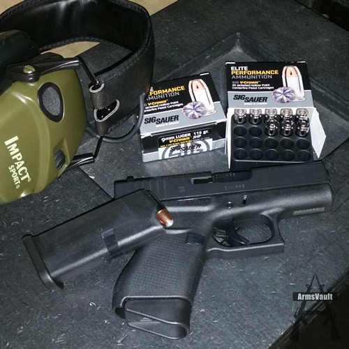 Glock 43 with Sig V-Crown 9mm 115gr JHP Ammo