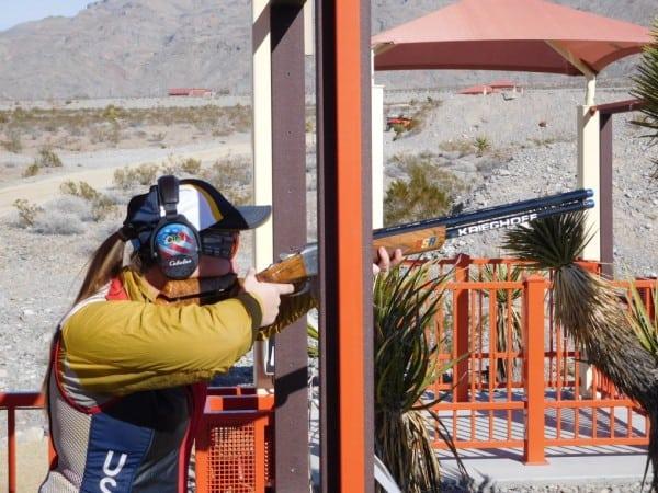 Corey Cogdell shooting her Krieghoff K-80