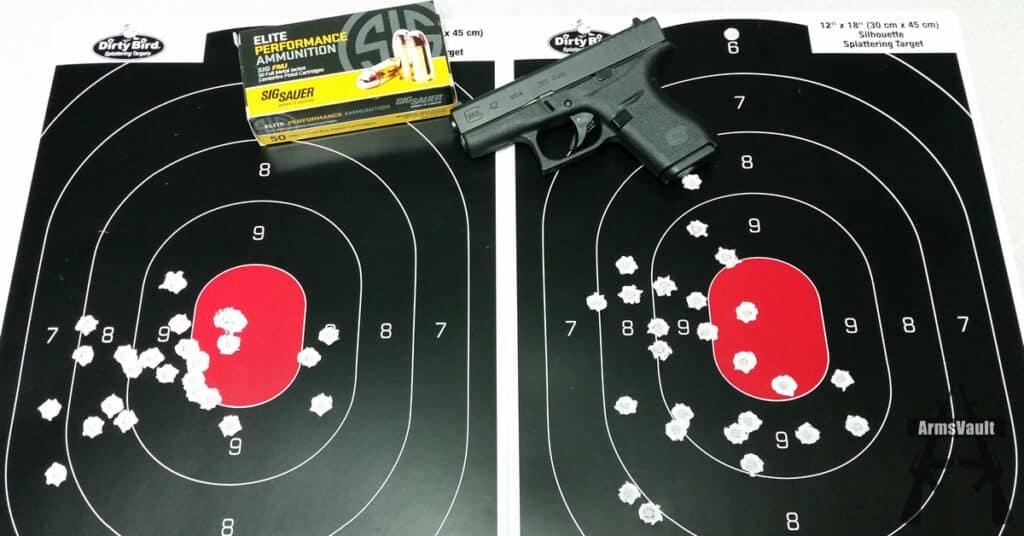 Glock 42 with Sig 380 Auto Elite Performance FMJ