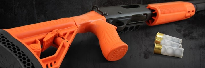 Adaptive Tactical Less Lethal Orange Forend and Adjustable Stock on Remington 870