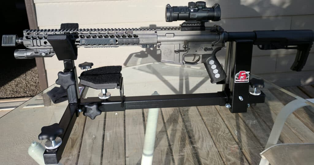 Rebel Arms AR-15 in CTK Precision P3 Ultimate Gun Vise