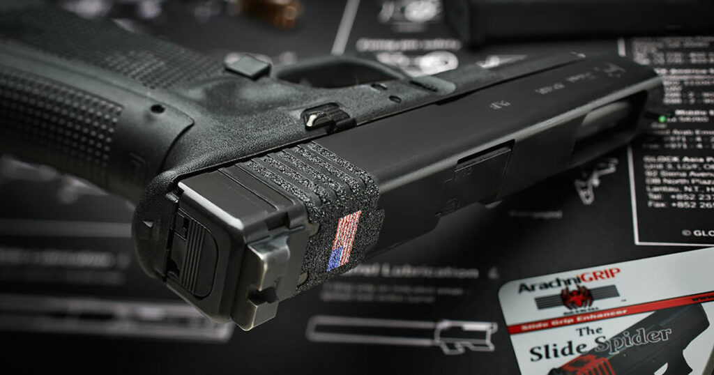 ArachniGRIP Slide Spider with Betsy Ross Flag Emblem - On Glock Pistol