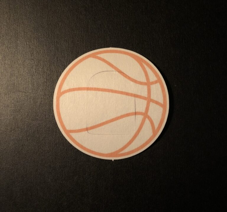 Basketball Designed precut adhesive patch to secure all diabetic devices