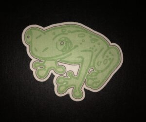 Frog Designed precut adhesive patch to secure all diabetic devices