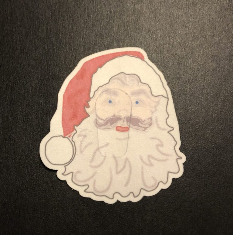 Christmas Santa Designed precut adhesive patch to secure all diabetic devices