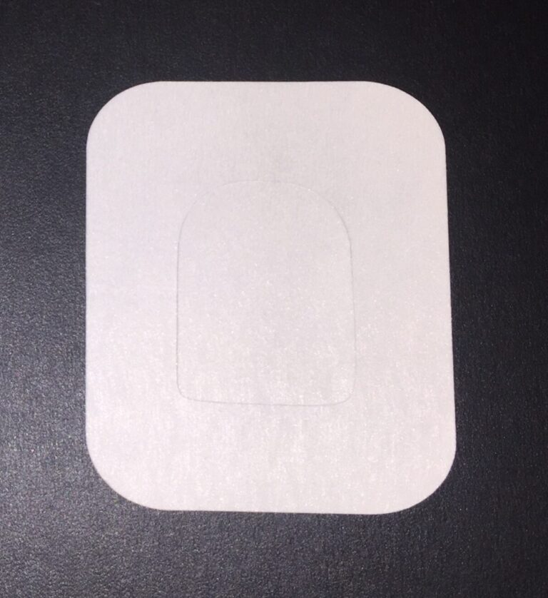 Athletic Style precut adhesive patch to secure all diabetic devices