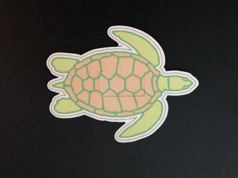 Sea Turtle Designed precut adhesive patch to secure all diabetic devices