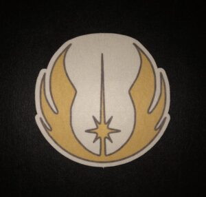 Jedi Symbol Designed precut adhesive patch to secure all diabetic devices