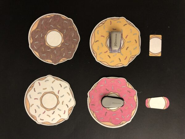 Doughnut Designed precut adhesive patch to secure all diabetic devices