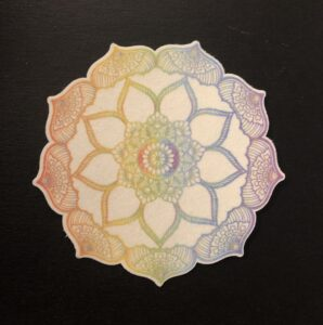 Flower Mandala Designed precut adhesive patch to secure all diabetic devices