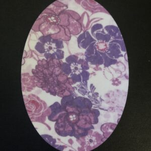Purple Flowers Oval Designed precut adhesive patch to secure all diabetic devices
