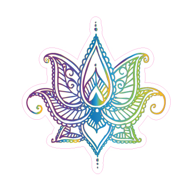 Henna Lotus Flower Designed precut adhesive patch to secure all diabetic devices