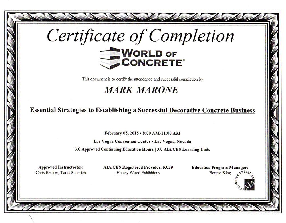 World of Concrete Certification