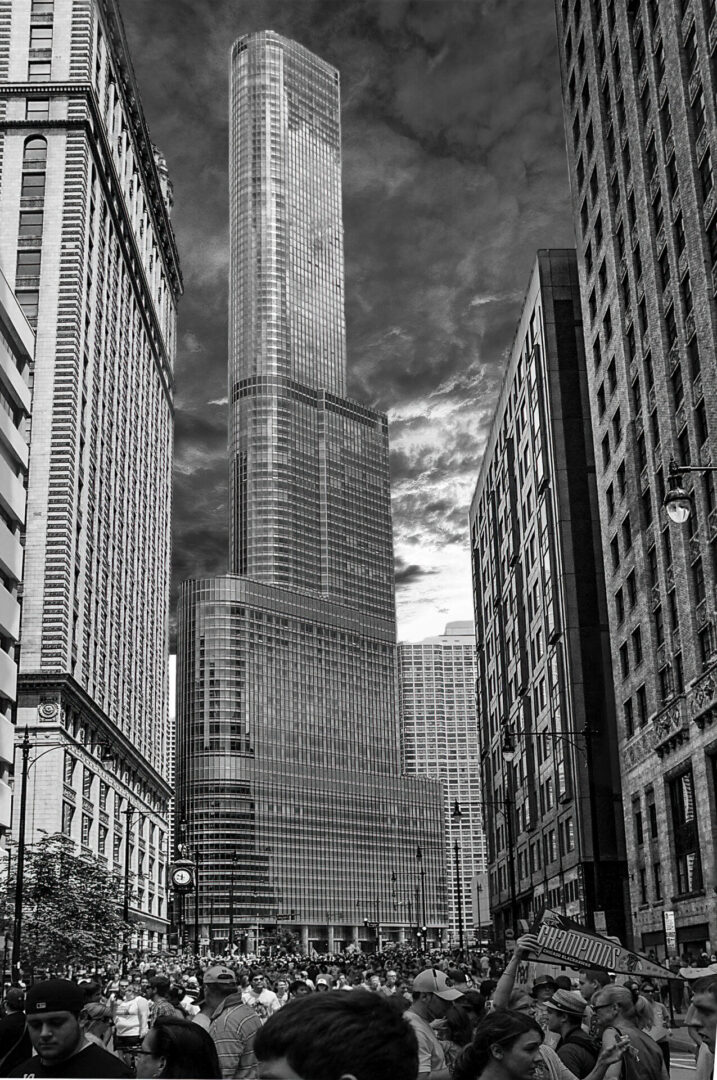 Trump Tower during the Chicago Black Hawks celebration 2009