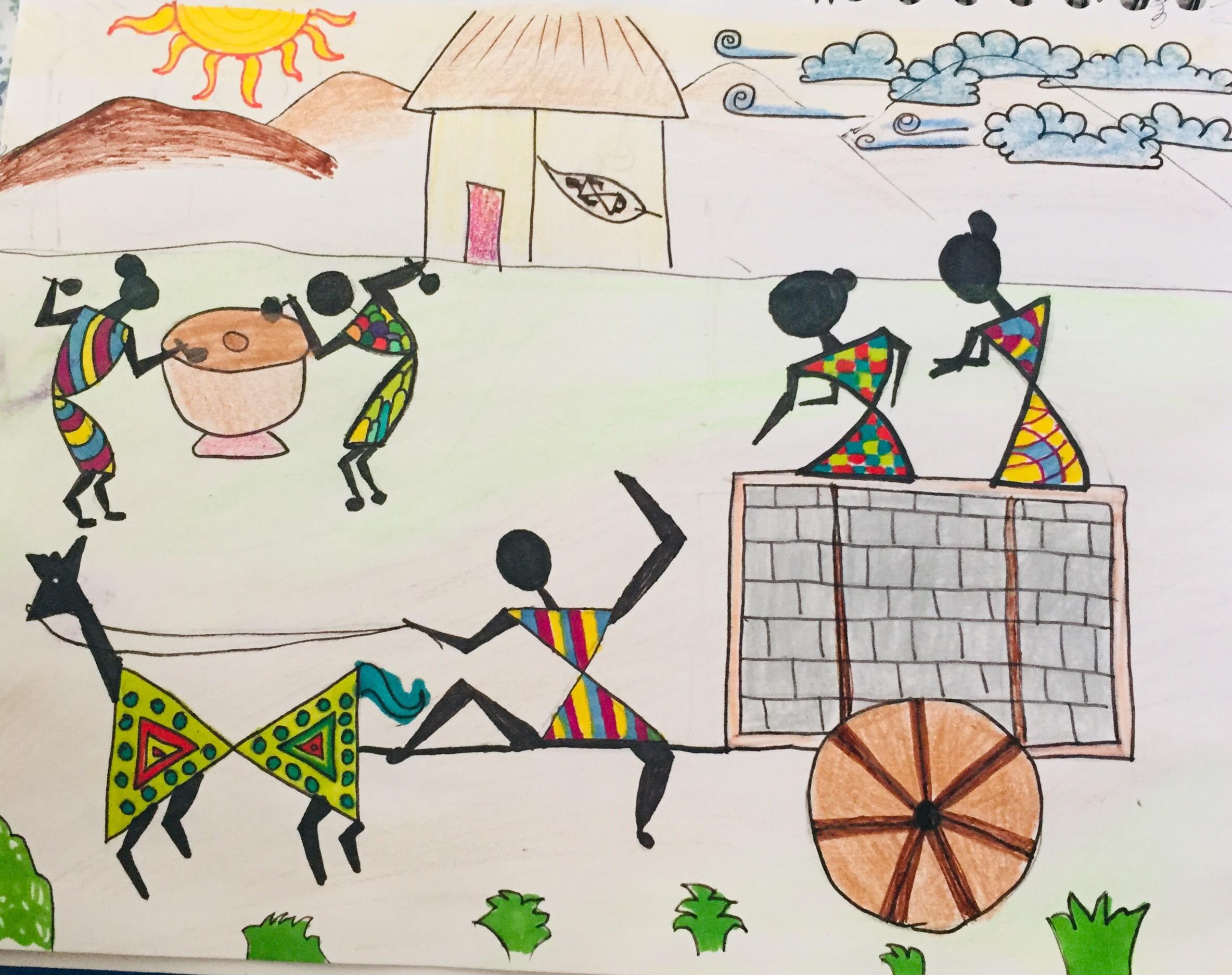 Village Scene, Warli Art