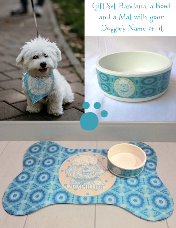 DOGGIE LOVER GIFT SET IN BLUE: BANDANA, BOWL AND MAT
