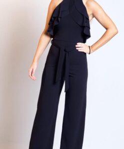 Black frill kneck line jumpsuit